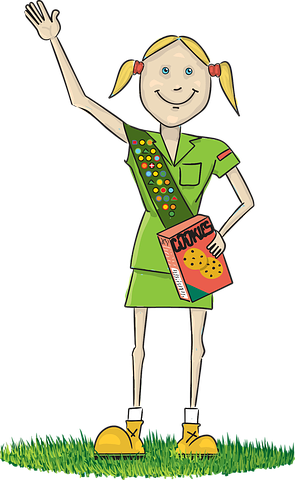 Girl Scout holding Cookie Box animated image