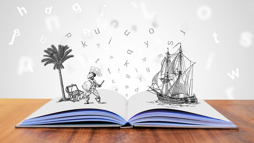 A open book with animated ship, captain and floating lettters