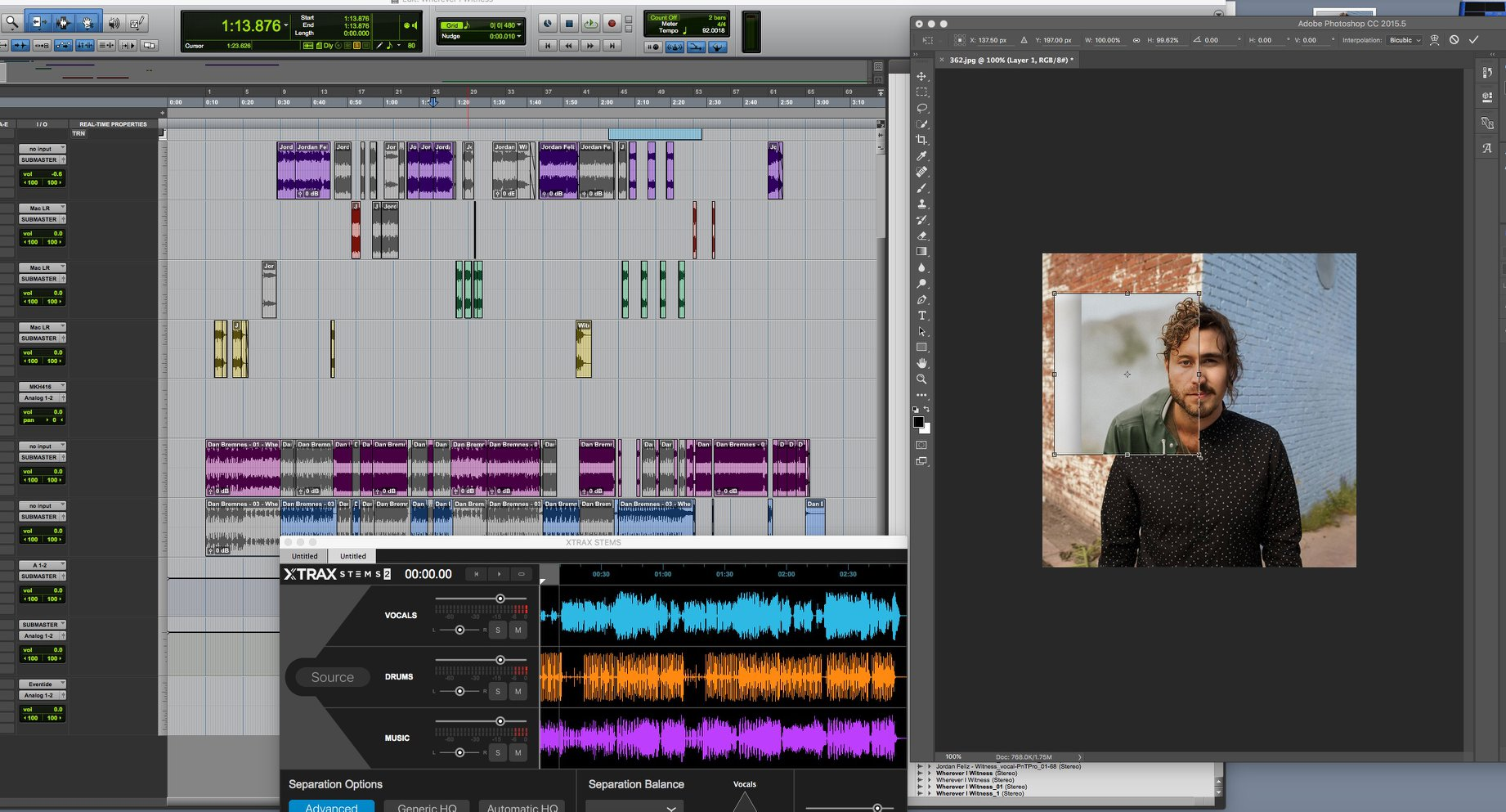 Screenshot of mashup process