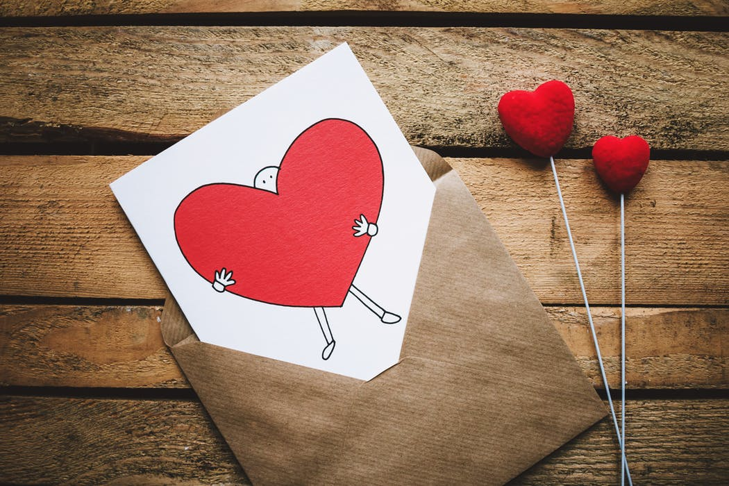 Paper card with a heart on it
