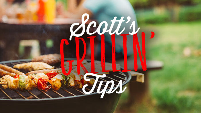 Scott's Grillin' Tips written in Barbecue on background