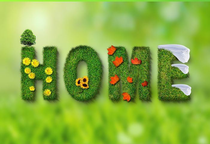 Home word in grass design
