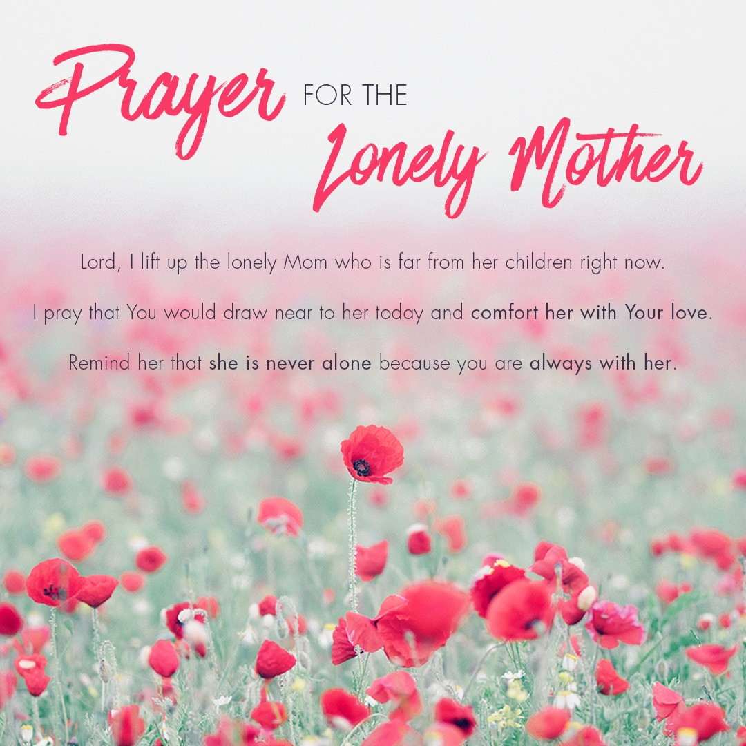 Prayer for Lonely mom text image
