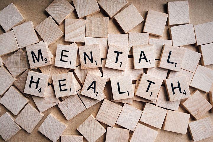 Mental Health assembled in wooden blocks