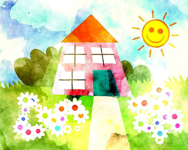 Watercolor of small house,sun,flowers