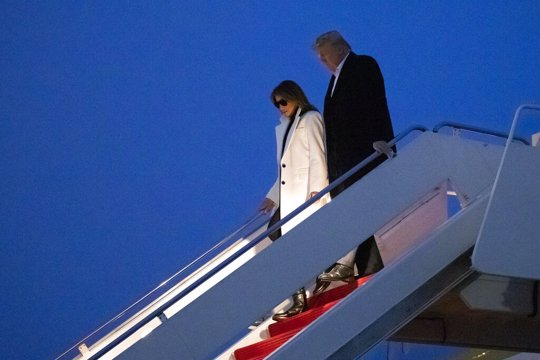 President and Melania Trump returning from trip to India