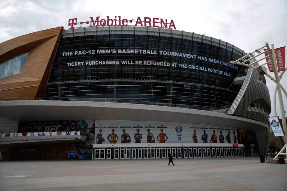 Exterior T-Mobile Arena game cancellation amid virus outbreak