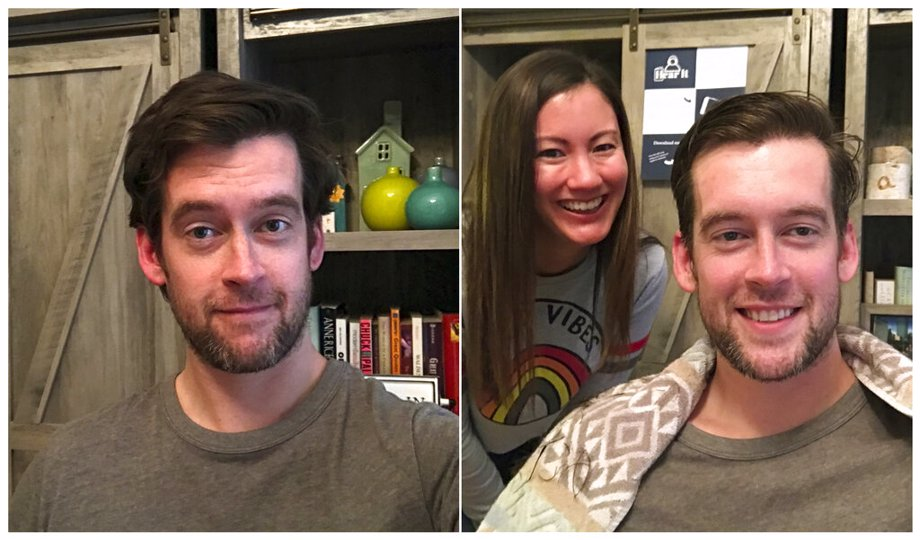 (left) Brian Coughlin before receiving a haircut and (right) wife Ashley after she gave him a haircut in Evanston, Ill. He usually heads to the barber every eight to 10 weeks. He was about a month overdue when he asked his wife to give it a try with the clippers as they shelter at home.