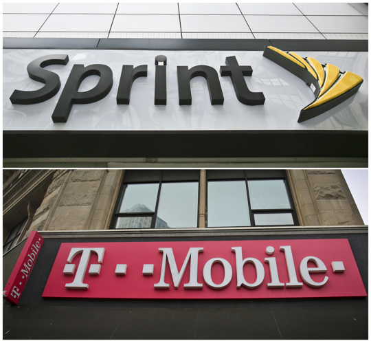 Sprint and T Mobile signage