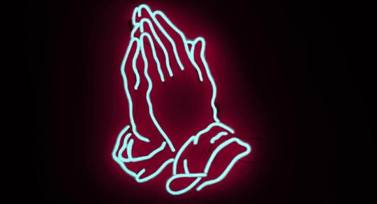 Neon praying hands
