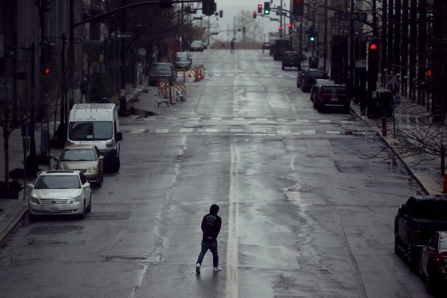 Man Walking Across Street In Kansas City
