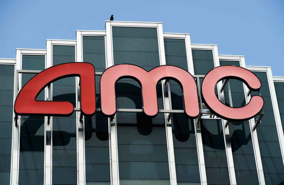 AMC sign appears at AMC Burbank 16 movie theater complex in Burbank