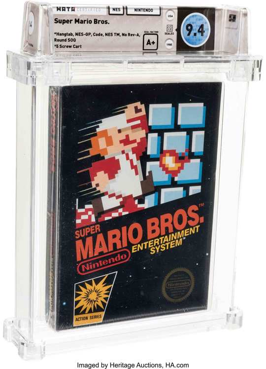 This photo provided by Heritage Auctions on Saturday, July 11, 2020, shows the front of an unopened copy of a vintage Super Mario Bros. video game