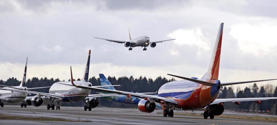 Airliners on runway
