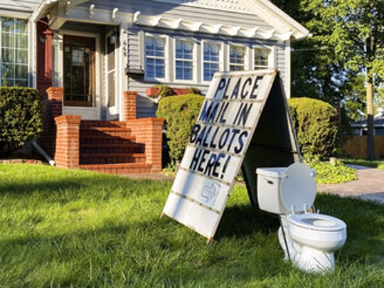 outdoor toilet ballot protest
