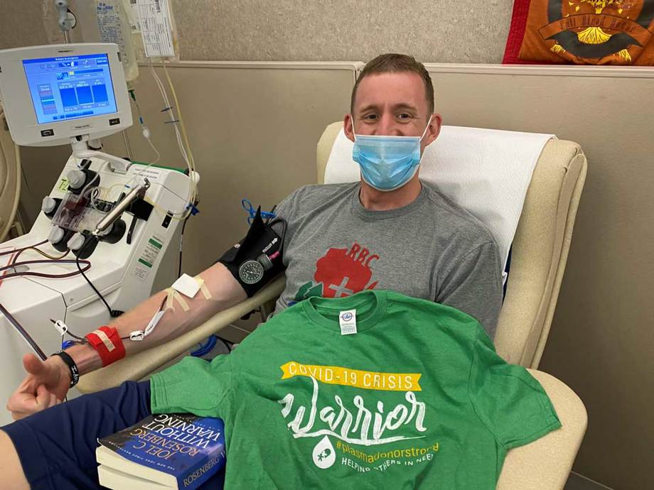 Adam is recognized as a COVID-19 Crisis Warrior by the Community Blood Center's Convalescent Plasma program