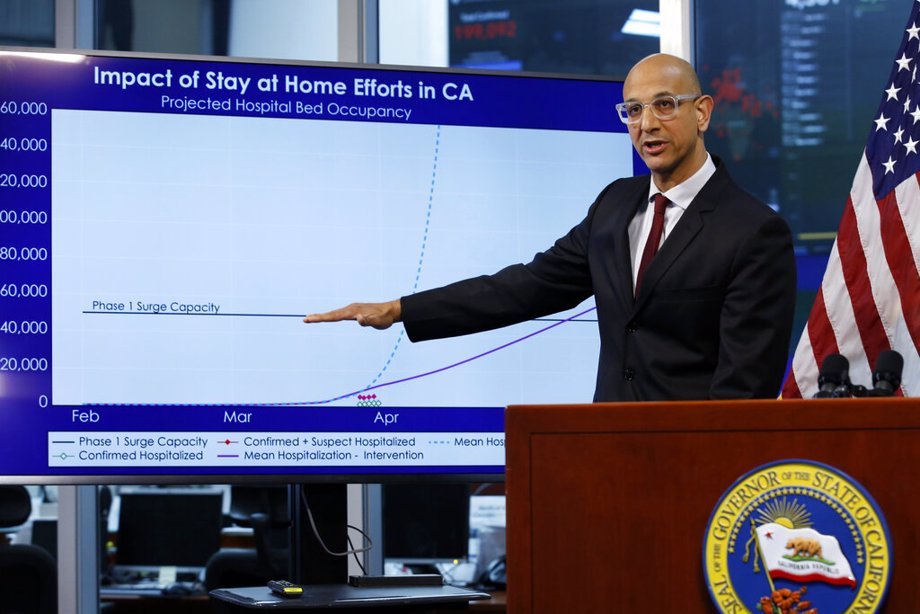 In this April 1, 2020, file photo Dr. Mark Ghaly, secretary of the California Health and Human Services, gestures to a chart showing the impact of the mandatory stay-at-home orders during a news conference ,at the Governor's Office of Emergency Services in Rancho Cordova, Calif. On Saturday, California will impose another, partial overnight curfew to stem a recent surge in coronavirus cases. Ghaly said that about 12% of the new cases will be hospitalized in coming weeks, and the cumulative increase could soon threaten to swamp the state's healthcare system as it has in other states. The curfew will run from 10 p.m. to 5 a.m.