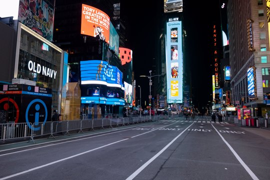 mostly empty Times Square in New York City