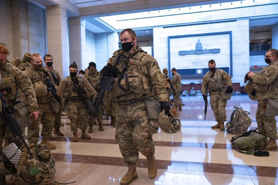 Hundreds of National Guard troops hold inside the Capitol Visitor's Center