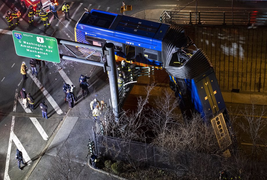 Bus Plunges off Overpass