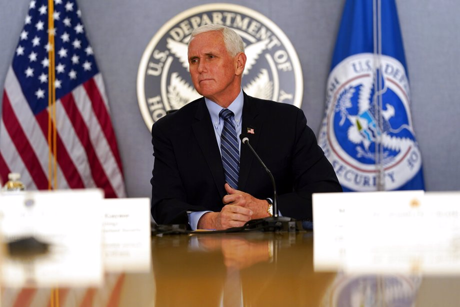 Vice President Mike Pence listens during a briefing about the upcoming presidential inauguration of President-elect Joe Biden and Vice President-elect Kamala Harris, at FEMA headquarters