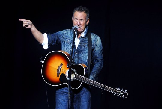 In this Nov. 5, 2018, file photo, Bruce Springsteen performs at the 12th annual Stand Up For Heroes benefit concert at the Hulu Theater at Madison Square Garden in New York. Iconic artists Lin-Manuel Miranda, Jon Bon Jovi and Bruce Springsteen are among the stars who will highlight a primetime virtual celebration televised Wednesday night following President-elect Joe Biden's inauguration.