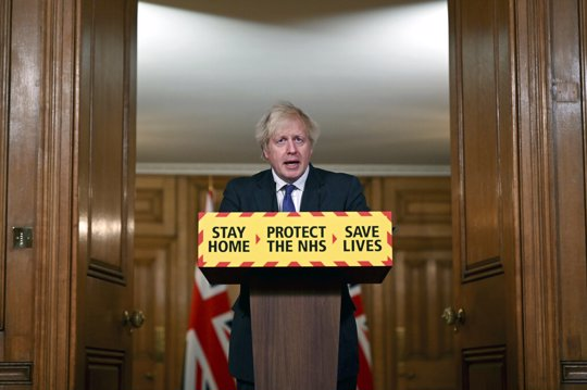 Britain's Prime Minister Boris Johnson speaks during a coronavirus press conference at 10 Downing Street in London