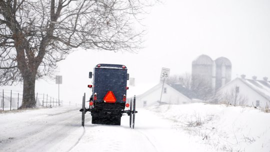 Amish buggy in the snow in Pennsylvania