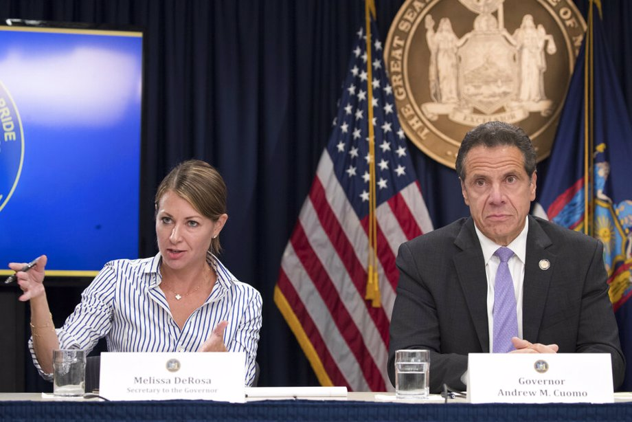 Secretary to the Governor Melissa DeRosa, is joined by New York Gov. Andrew Cuomo