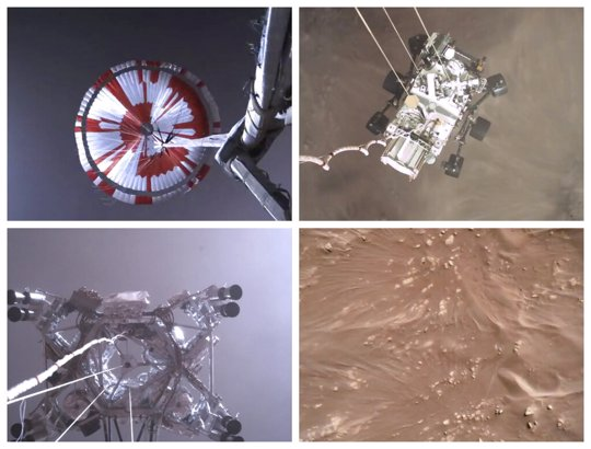 Combination of images from video made available by NASA shows steps in the descent of the Mars Perseverance rover