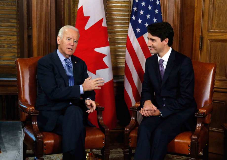 Canadian Prime Minister Justin Trudeau meets with then U.S. Vice President Joe Biden on Parliament Hill in Ottawa.