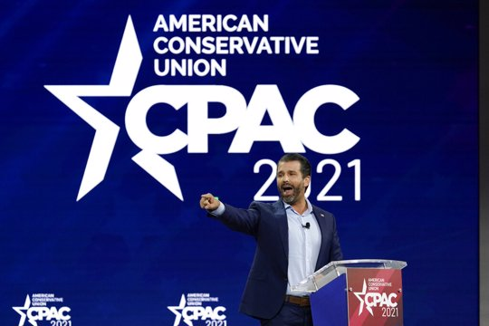 Donald Trump Jr., speaks at the Conservative Political Action Conference (CPAC) Friday, Feb. 26, 2021, in Orlando, Fla.