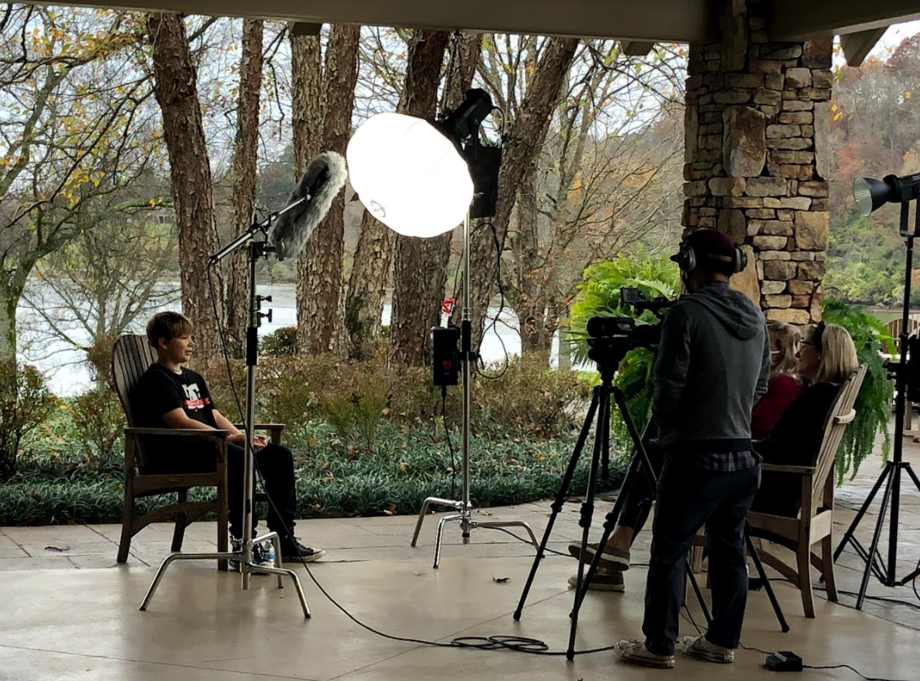 Tyler Hays interviews foster child for promotional video