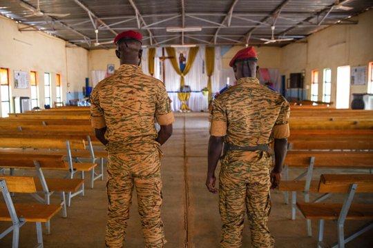 Soldiers in church in Burkina Faso
