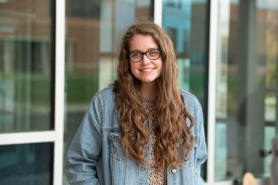 Legally blind social work major Hannah Abel