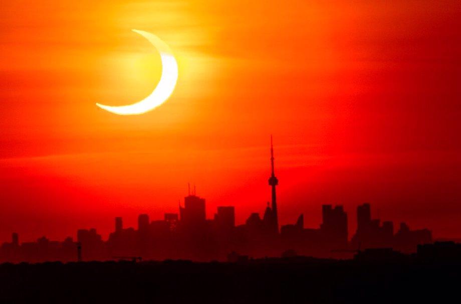 Solar Eclipse over Toronto Skyline