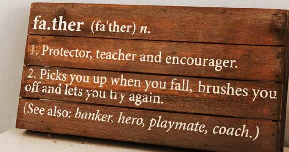 Plaque with definition of father