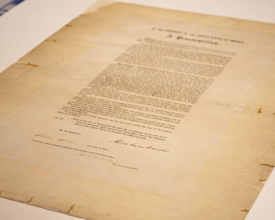 signed copy of Emancipation Proclamation