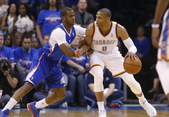 Chris Paul guarding Russell Westbrook