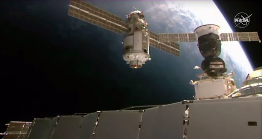 Nauka module as it approaches the International Space Station