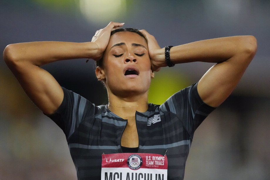 Sydney McLaughlin reacts after setting a new world record in the finals of the women's 400-meter hurdles at the U.S. Olympic Track and Field Trials in Eugene, Ore.