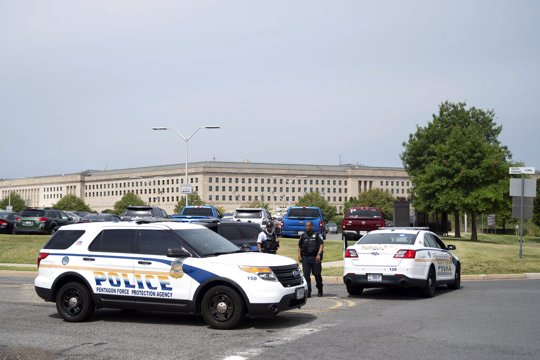 Police block off an entrance to the Pentagon