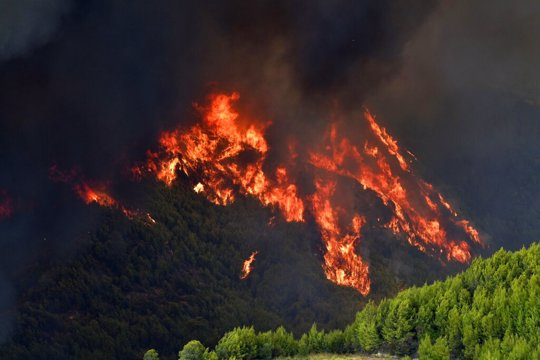 Flames burn a mountain in Platanos village, near ancient Olympia, western Greece