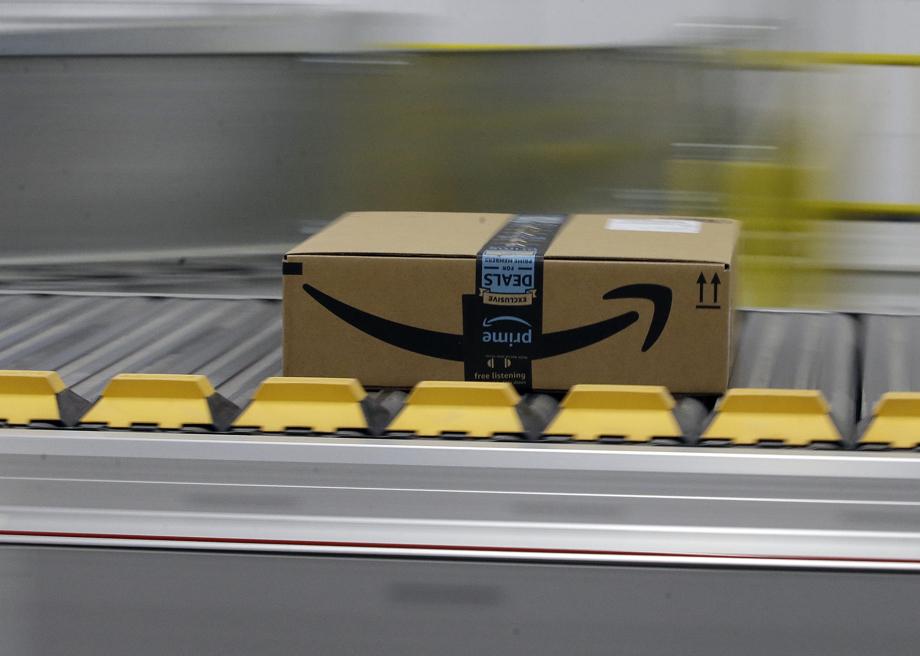 Amazon package on conveyor belt