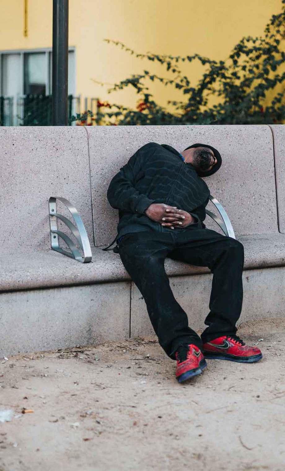 homeless man asleep
