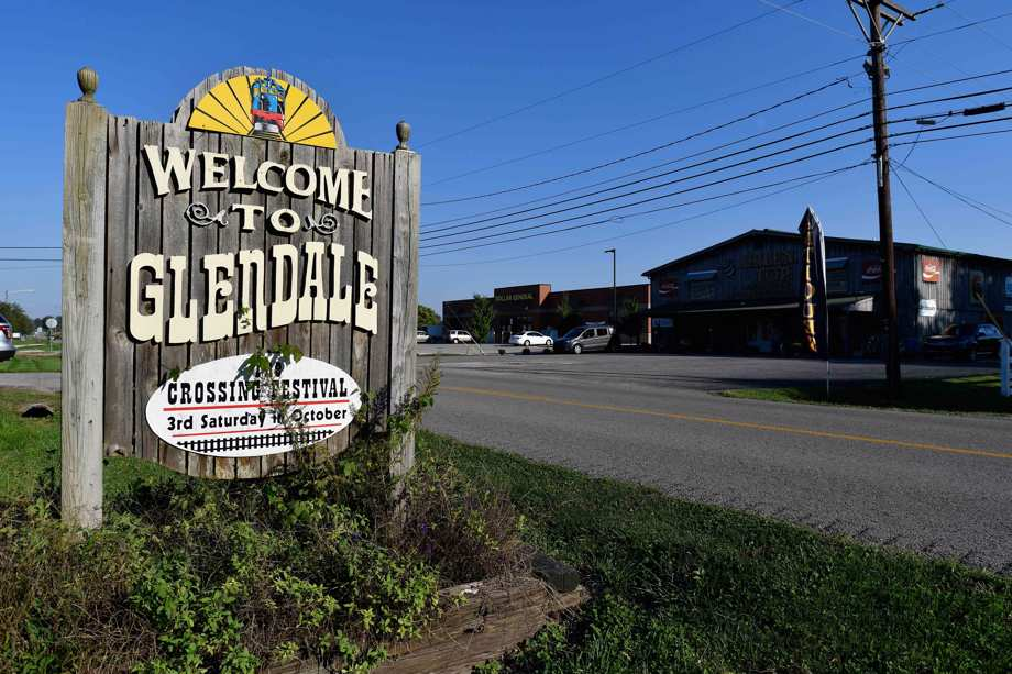 A sign welcomes visitors to the tiny town of Glendale, Ky., the site of a joint venture with Ford Motor Company and SK Innovation to create the $5.8 billion BlueOvalSK Battery Park in Glendale, Ky., Monday, Sept. 27, 2021.