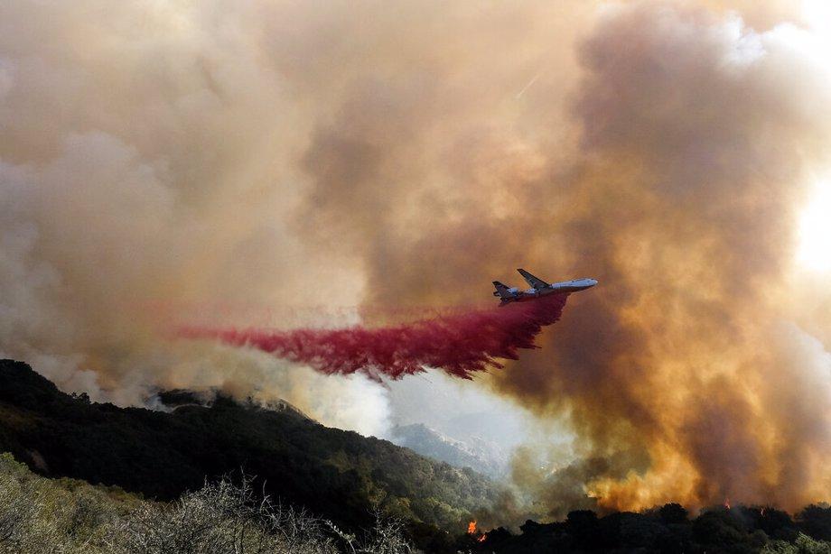 Air tanker dropping retardant on Alisal Fire near Santa Barbara