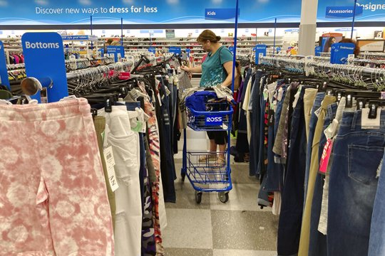 Woman shopping at Ross outlet