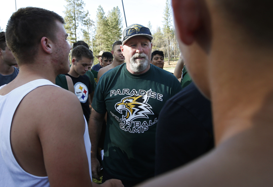 coach talking to football team