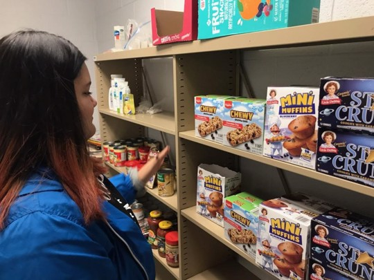 Person inside school student food pantry